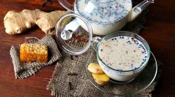 Зеленый чай с молоком и имбирем