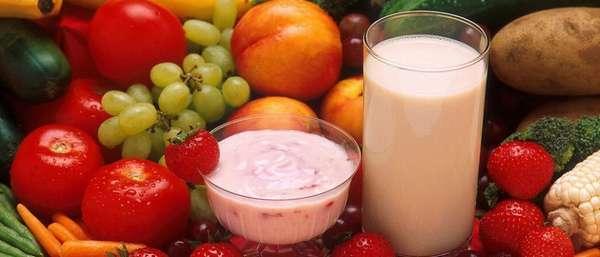 Йогурт, фрукты, овощи