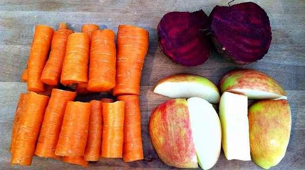 Морковь, свекла, яблоко