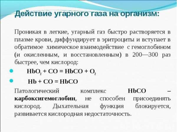 Воздействие угарного газа на организм