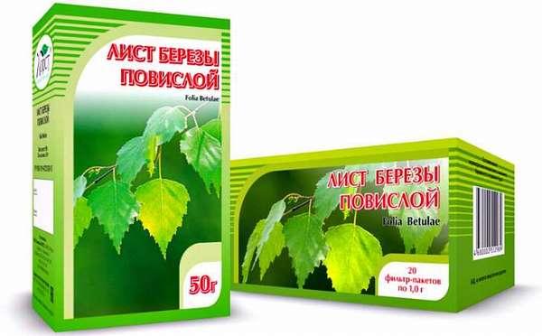 Аптечный чай из листьев повислой березы